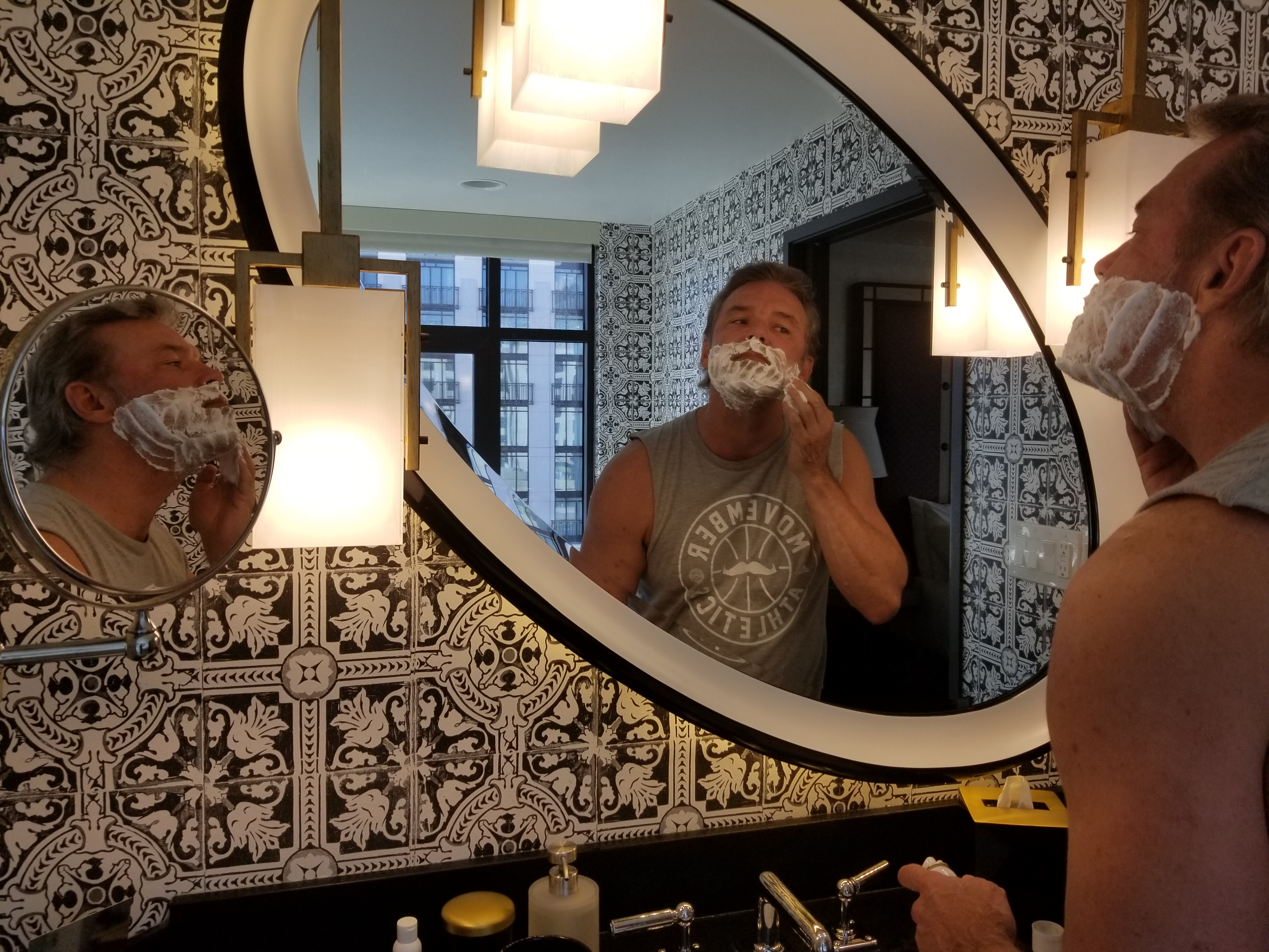 Applying shaving cream
